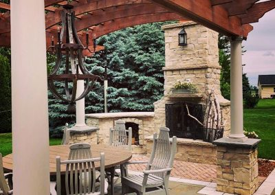Residential Outdoor Fireplace with Pergola